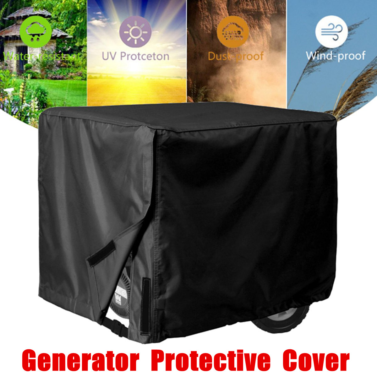 Cubierta de tela Oxford para generador, cubierta protectora a prueba de viento, cubierta impermeable para exteriores, cubiertas para todo uso, 3 tamaños, negro
