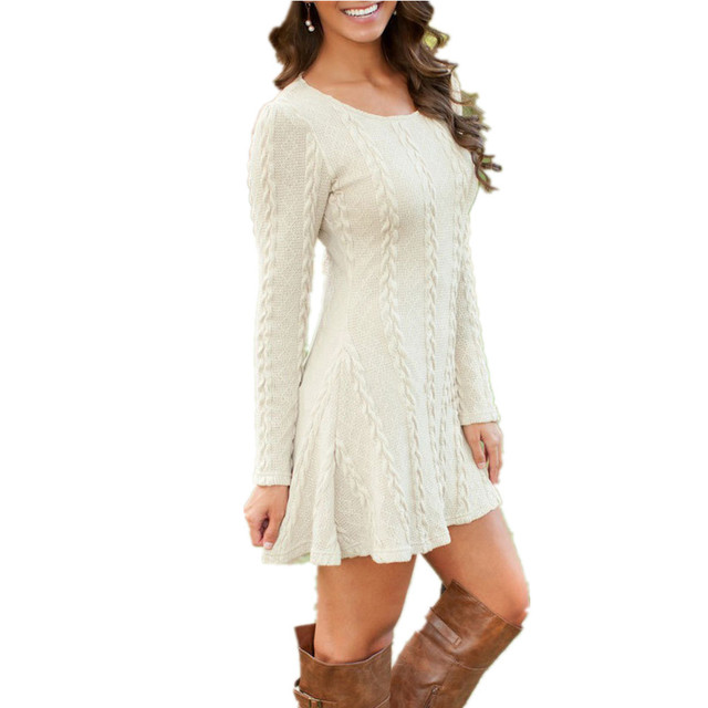Women Causal Plus Size S-5XL Short Sweater Dress Female Autumn Winter White Long Sleeve