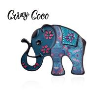Cring Coco Cute Blue Elephant Brooches for Women Black Metal Alloy Animal Brooch Pin Vintage Pins Collar Jewelry Best-selling