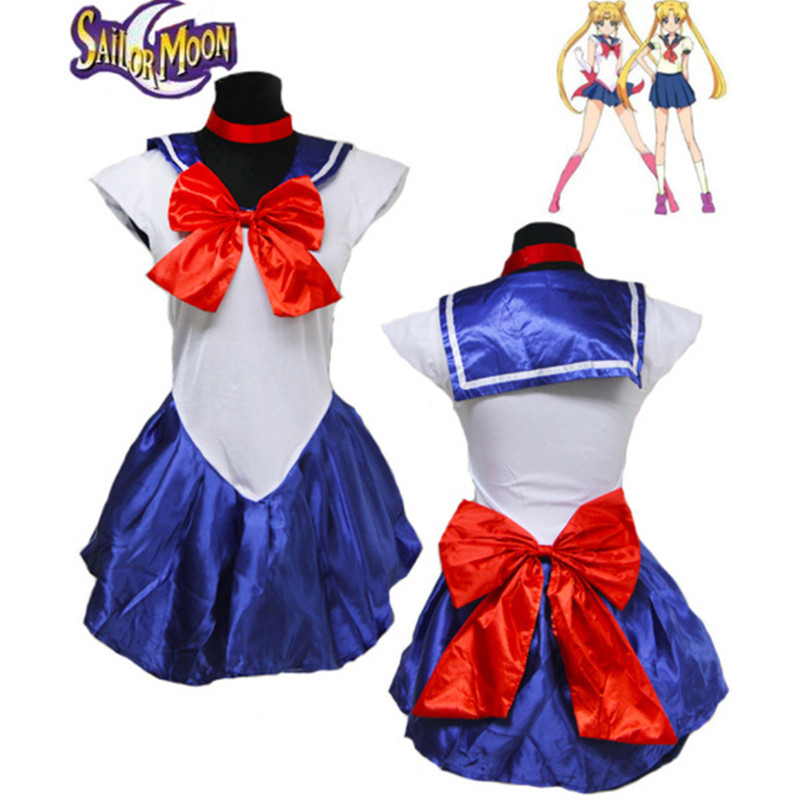 6 Color Anime Pretty Soldier Sailor Moon Cosplay Costume Female Halloween Party Costume Girl Mercury Moon Mars Dress