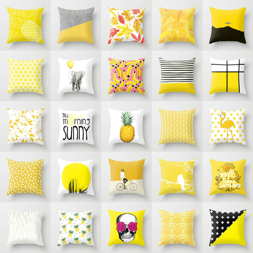 45cm X 45cm Yellow Striped Pillowcase Geometric Waist Throw Cushion Pillow Cover Soft Cool Pillow Case Bedroom Home Office Decor