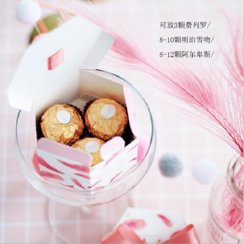 Pink Feather Hexagon Style Wedding Favors and Gifts Boxes Candy Box Baby Shown Birthday Party Paper Gift Bags Party Supplies