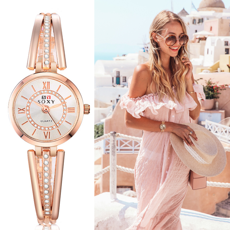 Women Dress Watch Feminino Relogio Quartz Rose Gold Watches Crystal Saati Brand Female Stainless Steel Analog Mujer Wristwatches