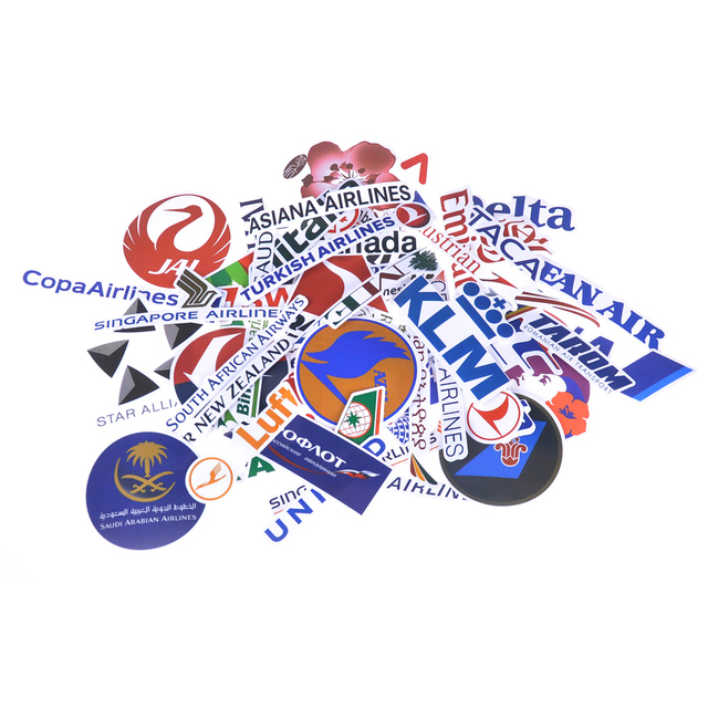 52pcs new style airline logo high quality stickers aviation travel trip for suitcase laptop decal fashion