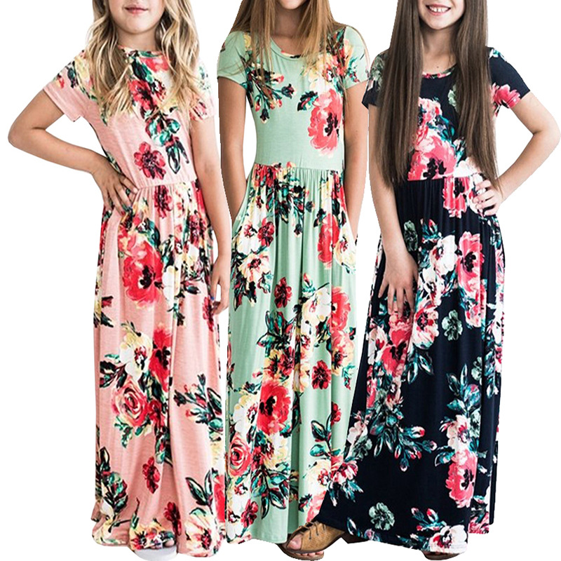 Maxi Long Girls Dress Summer Beach Tunic Floral Flower Dress Fashion Kids Party Princess Sundress Evening Full Dress for Girls summer girls sleeveless princess orange sundress kids fashion lotus leaf waist party prom child dress for children clothing