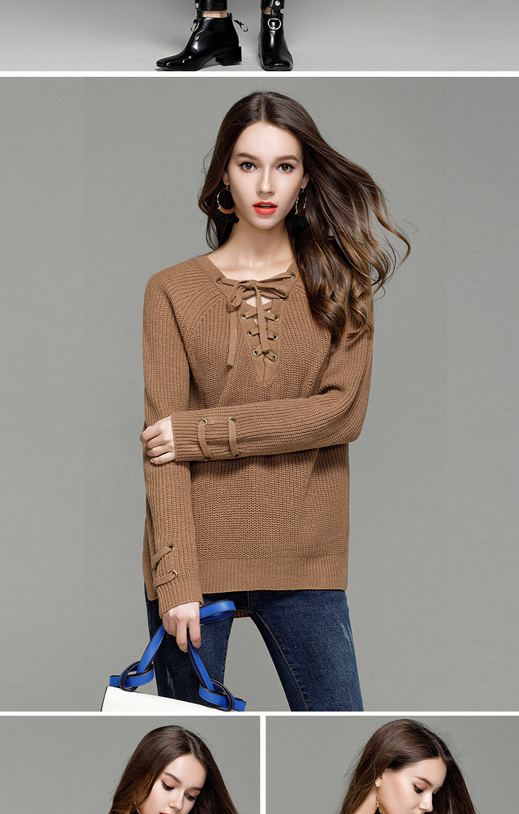 HTB1VpIXSXXXXXcbXFXXq6xXFXXXx - Sexy V-Neck With Knitted Long Sleeve Sweater JKP286