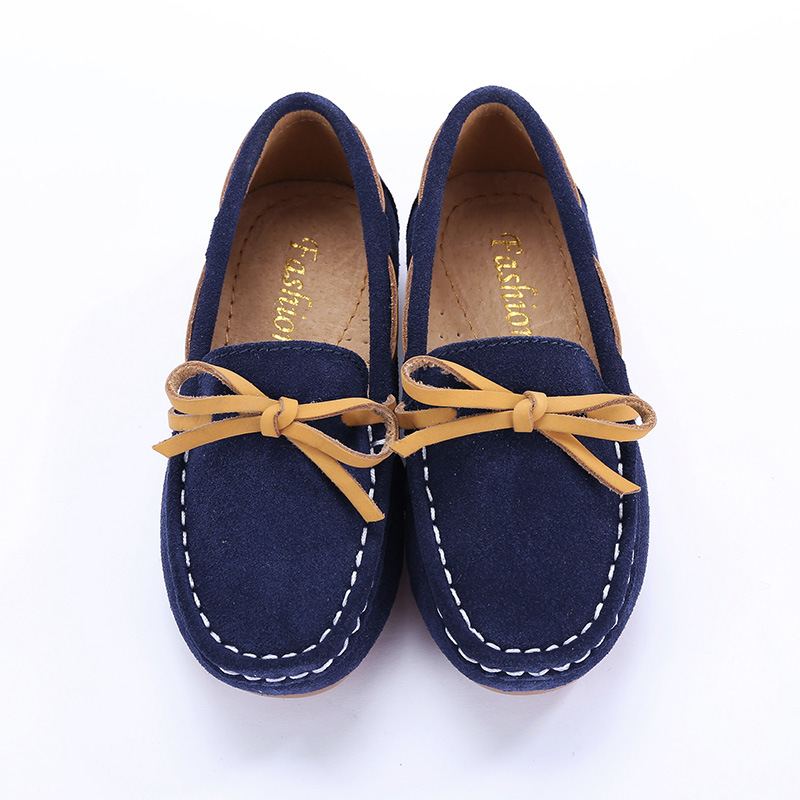 2016 New Autumn Genuine Leather Kids Shoes Boys Girls Mocassins Fashion Princess Bowknot Girls Shoes Flat Slip On Casual Shoes