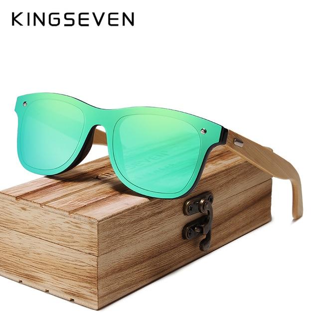 c8c940a97 KINGSEVEN 2019 Polarizada Óculos De Sol Dos Homens óculos De Sol De Madeira  de Bambu Madeira