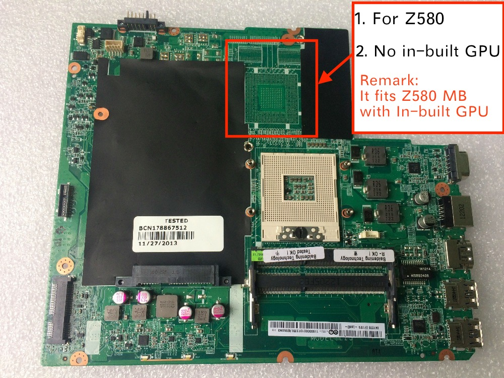 Free shipping New For Lenovo Z580 31LZ3MB00R0 DA0LZ3MB6G0 Notebook motherboard купить недорого в Москве