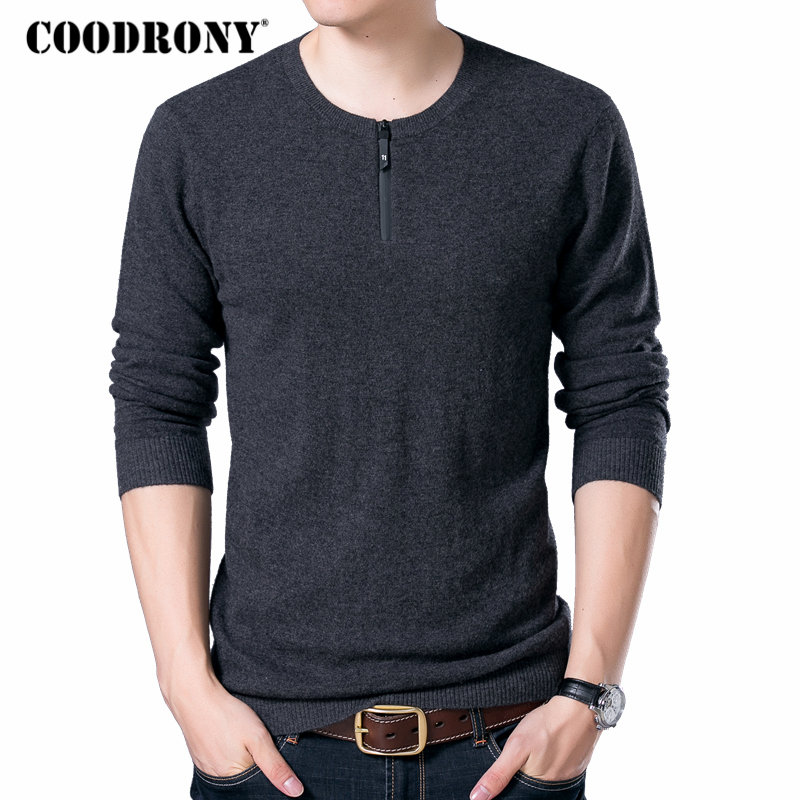 COODRONY Brand Sweater Men Zipper Collar Pull Homme Autumn Winter New 100% Merino Wool Sweaters Warm Cashmere Pullover Men 93006