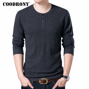 Image 1 - COODRONY Brand Sweater Men Zipper Collar Pull Homme Autumn Winter New 100% Merino Wool Sweaters Warm Cashmere Pullover Men 93006