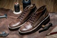 Модная Мужская обувь Винтаж броги повседневная обувь весна/осень на шнуровке мужская обувь из натуральной кожи