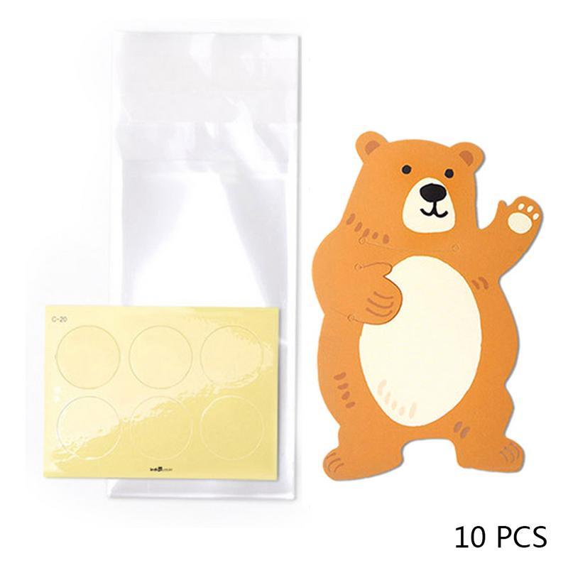 10 шт./лот, милые животные, медведь, кролик, коала, сумки для конфет, поздравительные открытки, сумки для печенья, подарочные сумки для детского душа, украшения для дня рождения - Цвет: E