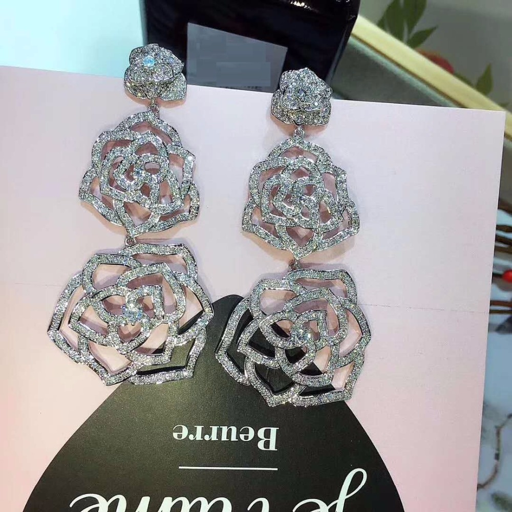 Top Quality Luxury AAA Cubic Zirconia Pave Flower Shap Beauty Sparkling Earrings Party Jewelry Wedding Accessaries E-057 ...