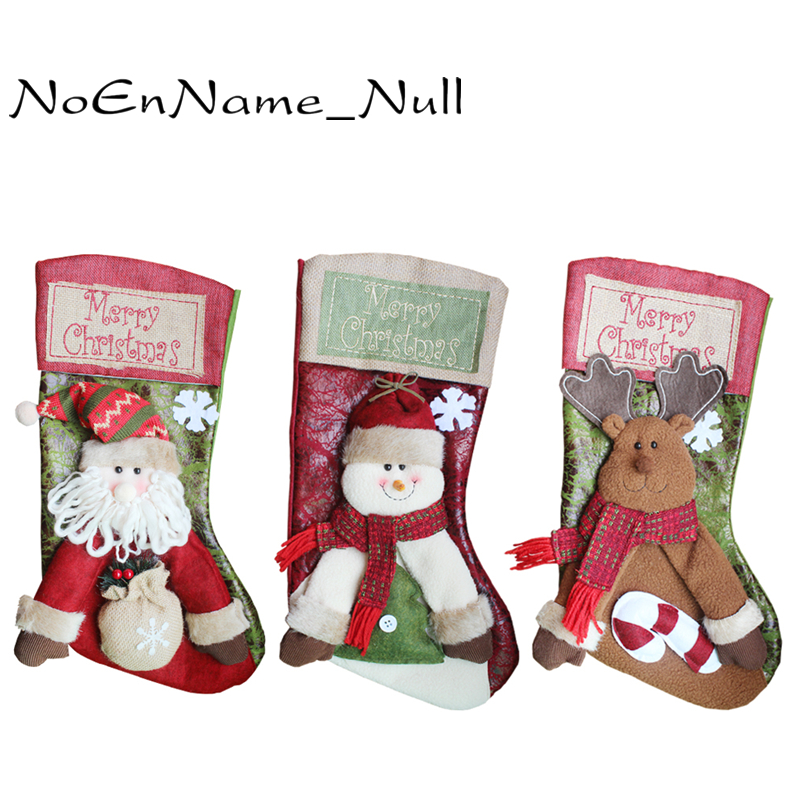 christmas home decorations santa snowman stockings reindeer high end stereo christmas stocking. Black Bedroom Furniture Sets. Home Design Ideas