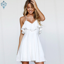 Ameision 2019 Summer New Hot Sweet Ruffles sexy Dress Womens Spaghetti Strap Backless Lace up Short Solid Mini Dresses