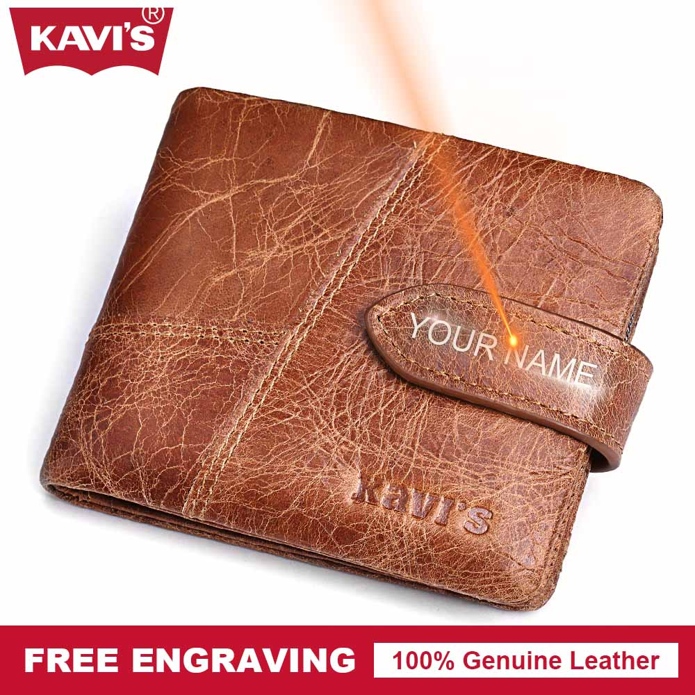 KAVIS Engrave Genuine Leather Male Wallet Men Coin Purse Walet Portomonee PORTFOLIO Small Fashion Card Holder Perse Gift for Man kavis genuine leather wallet men coin purse with card holder male pocket money bag portomonee small walet portfolio for perse