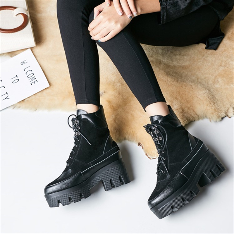 Fashion High Top Casual Women Shoes Lace up Platform wedge heel ankle Boots Women patchwork genuine leather Short Botas Mujer new 2018 women genuine leather lace fashion platform wedge high heels shoes women lace up hidden wedges ankle boots patchwork