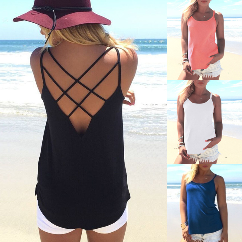 Women Sexy Summer Sleeveless Vest Blouse Backless Camisole Shirts   Tank     Tops   New