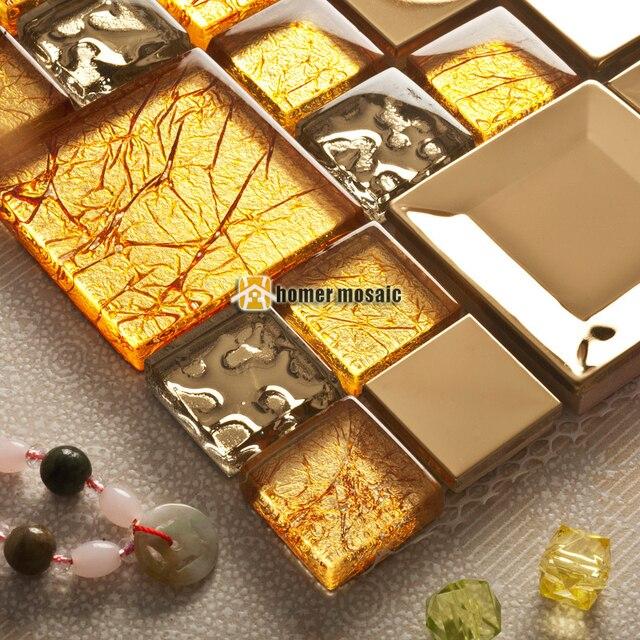 Gold gelb kristallglas gemischt edelstahl mosaik fliesen HMGM2085A ...