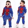 2017 traje de Navidad Ropa de los muchachos de Spiderman Niños Bebés Que Arropan Deporte Otoño invierno hombre araña ropa cosplay
