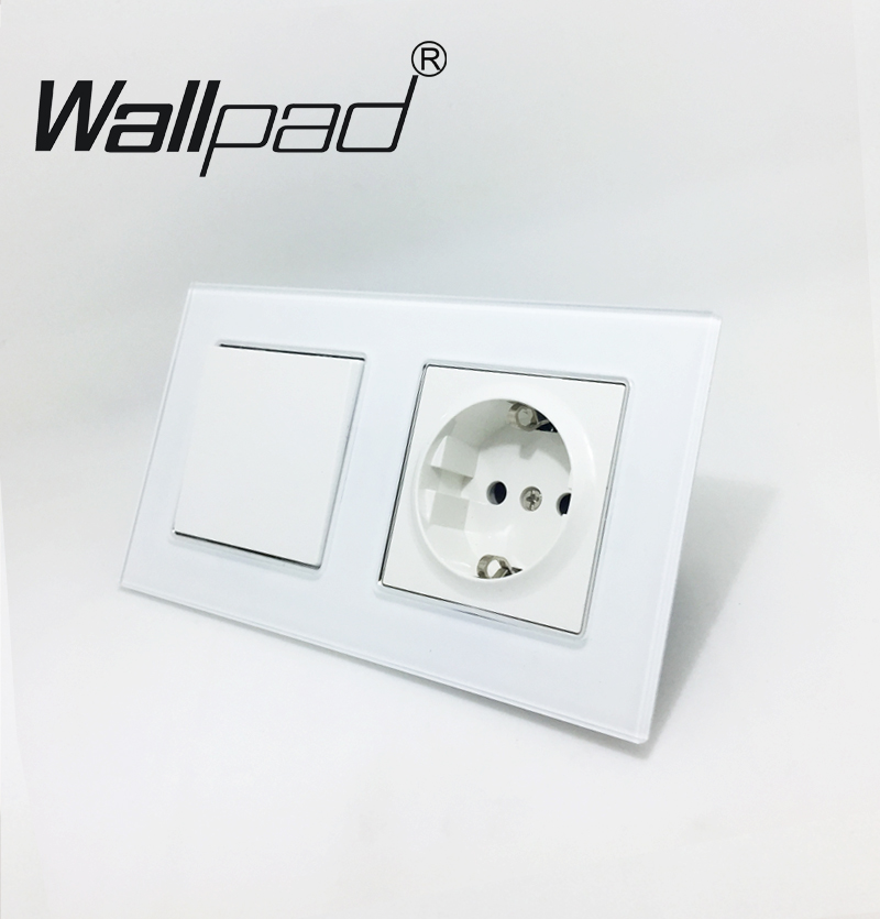 EU Standard Socket with Claws Wallpad White Glass Panel 1 Gang 2 Way Switch and Schuko EU Plug Wall Power Socket with Haken 2018 hot sale 6 pin multifunction socket wallpad luxury wall switch panel plug socket 118 72mm 10a 110 250v