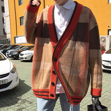 Korean Oversized Sweater Cardigan Men Plaid v Neck Thick Warm Mens Stylish Sweaters Strickjacke Herren Knitwear Mens Modis