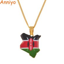 Anniyo Map of Kenya Flag Enamel Pendant Necklaces Jewellery Gold Color African Country Map Jewelry kenyans Map Gift #167106(China)
