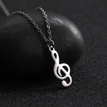 Fishhook Musical Note Necklace Gold/silvery Stainless Steel Clear Long Pendant Woman Fashion Statement Chain Jewelry(China)