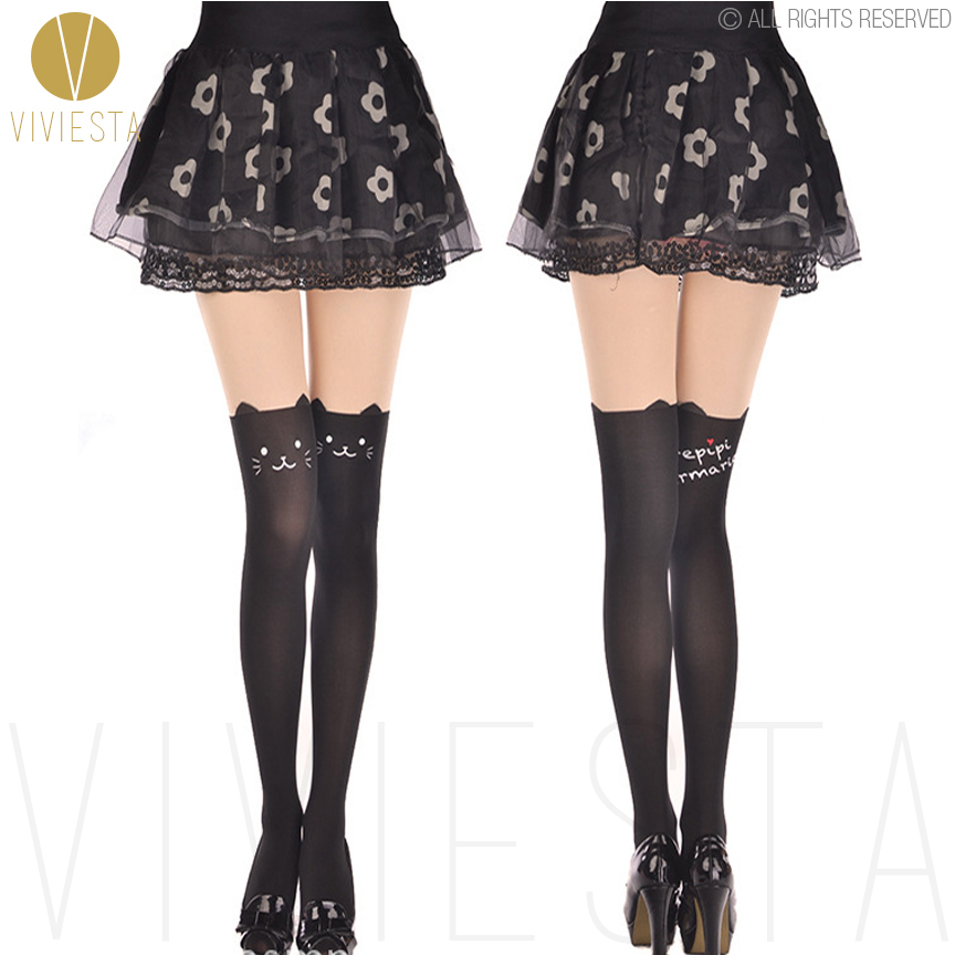 16a4b767b95 Detail Feedback Questions about CUTE KITTEN TATTOO TIGHTS 60D Japan Cat  Kitty Animal Sheer Opaque Mock Suspender Fake Print Knee Thigh High Medias  Pantyhose ...