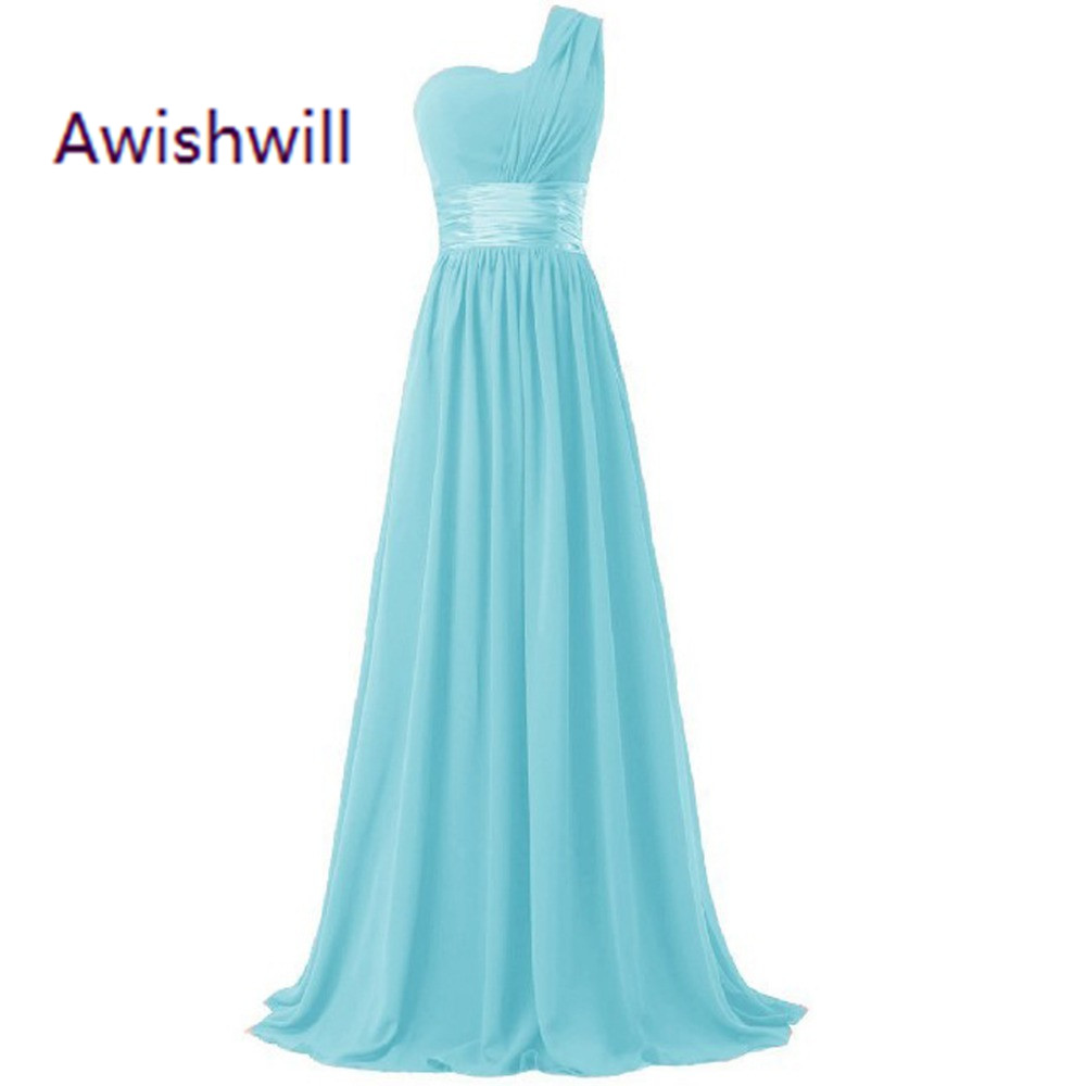 2017 Hot Sale Cheap Long Bridesmaid Dress One Shoulder A Line Chiffon For Women Elegant Purple