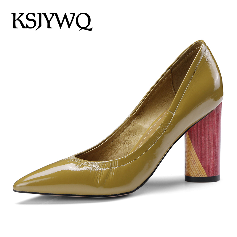 KSJYWQ 2018 Women's Slip-on Pumps Summer Style Dress Shoes 6.5 CM Chunky Heels Sexy Party Yellow Shoe Woman Box Packing 81996 ksjywq plus size women red pumps slip on summer dress shoes 10 cm high heels sexy pointed toe woman stilettos box packing 1259 1