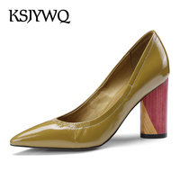 KSJYWQ 2018 Women's Slip on Pumps Summer Style Dress Shoes 6.5 CM Chunky Heels Sexy Party Yellow Shoe Woman Box Packing 81996