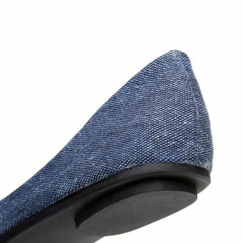 TIMETANG New Women Soft Denim Flats Blue Fashion High Quality Basic Pointy Toe Ballerina Ballet Flat Slip On Office Shoes
