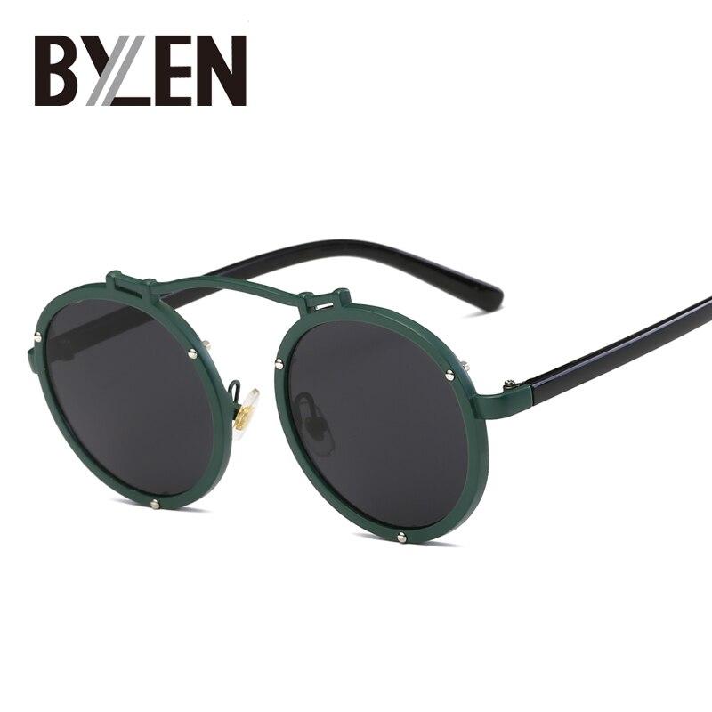 BYLEN Redondas De Metal Óculos de Sol Óculos de Steampunk Óculos Círculo Espelho  Óculos de Sol 9e2439b353
