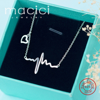 Ladies Necklace 100 Pure 925 Sterling Silver Electrocardiogram Unique Design Clavicle Chain Necklaces For Women DA338