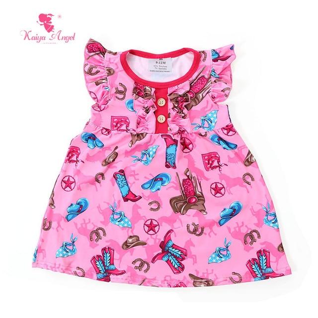 1c0927495 € 38.18 25% de DESCUENTO|Kaiya Angel ropa para niños ropa de verano niña  Botas de dibujos animados vestidos para niñas Rosa bebé niña vestido 1 ...