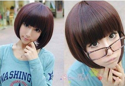 Shun New Girl S Sexy Fashion Wigs Neat Bangs Face Framing