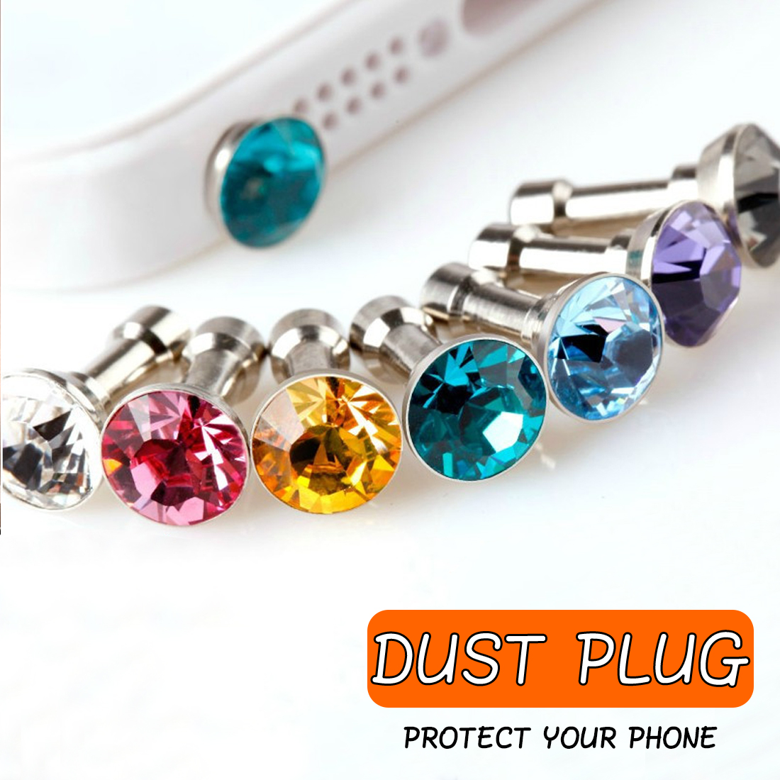 Marsnaska 5pcs Universal 3.5mm Diamond Dust Plug Mobile Phone accessories gadgets Earphone Plugs For iPhone 5 5s 6 6s