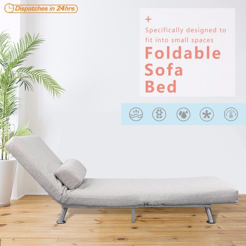 Новый Сталь Frame высокопрочный губка льняной ткани крышка складывающийся диван кресло кровать вытащить Nap губки кровать спальный диван