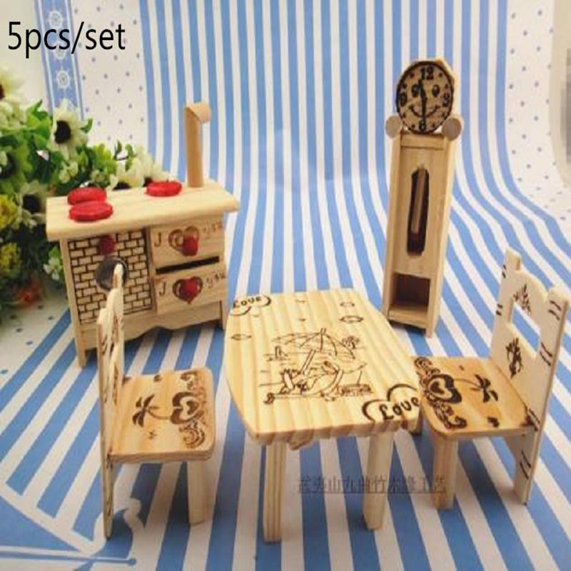 unidsset muebles de mueca de madera de juegos para nios diseo de juguetes