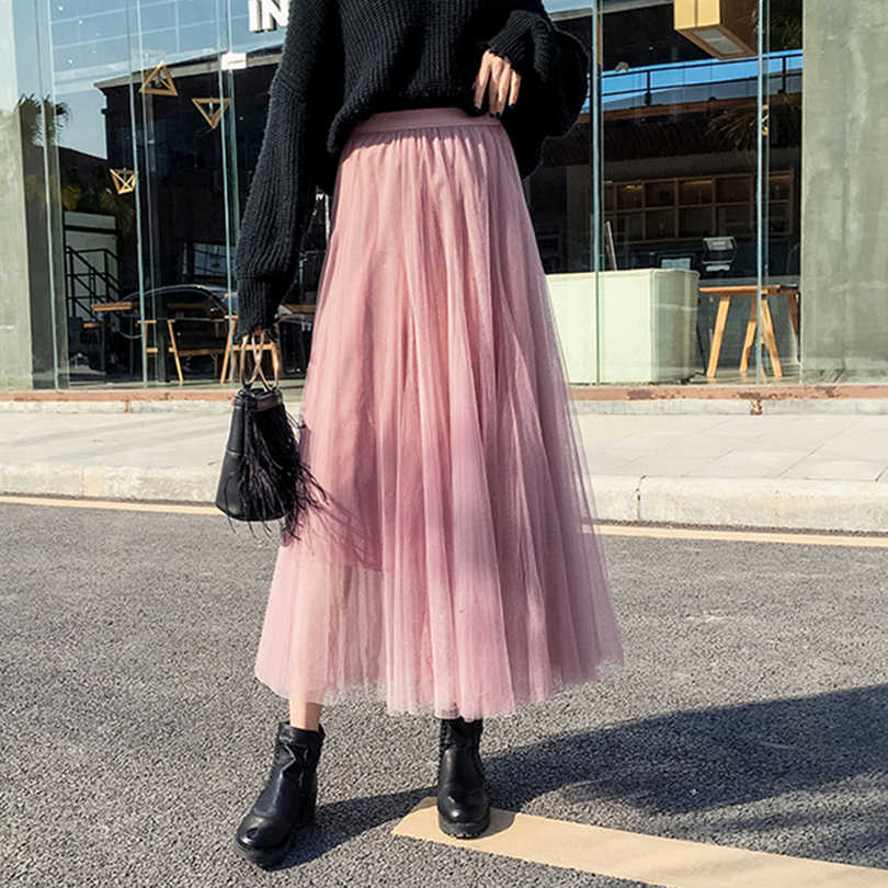 7cc7f7211d ... 2019 Spring Fashion Womens Tulle Skirt Casual Princess Fairy Style 3 Layers  Plus Size Long Skirt ...