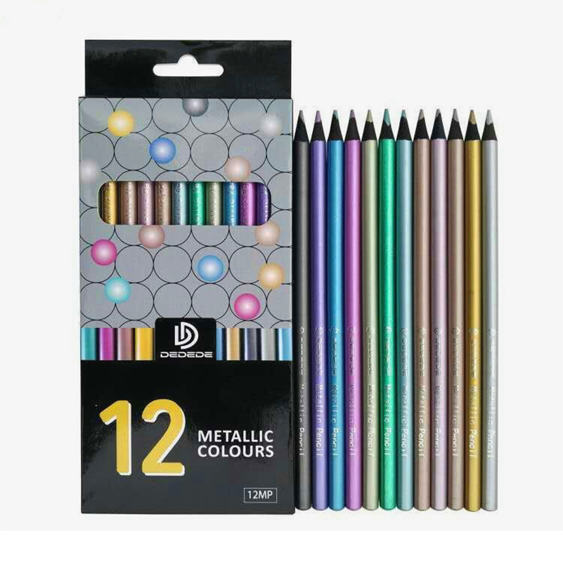 12 Pack Metallic Pencil Set - 0.3MM Decor Paint Pencil Colored for DIY Photo Ablum, Card Making,Scrapbooking,Coloring Book peacock flourishes design transparent clear stamp seal for diy photo album scrapbooking card making hand account decor supplies