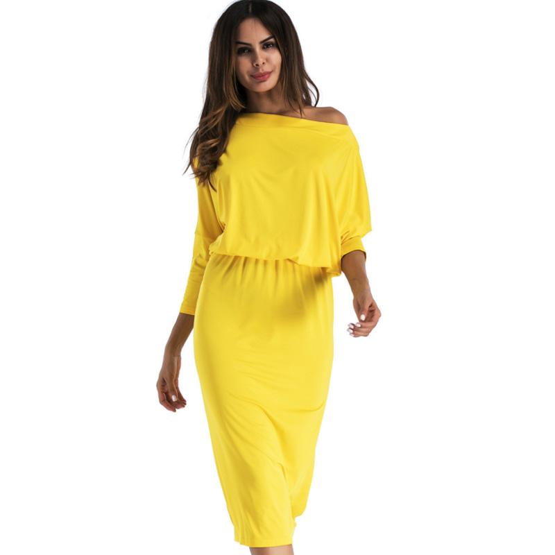 <font><b>2018</b></font> <font><b>Fashion</b></font> one shoulder <font><b>women</b></font> big size dresses <font><b>Sexy</b></font> party <font><b>Elegant</b></font> Casual <font><b>Bodycon</b></font> Dress <font><b>autumn</b></font> winter pencil Mid-Calf vestidos image