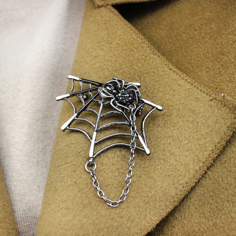 ファッションクモ蜘蛛の巣メタルタッセルブローチ漫画昆虫黒ラインストーンため女性男性ハロウィン Spille ジュエリー