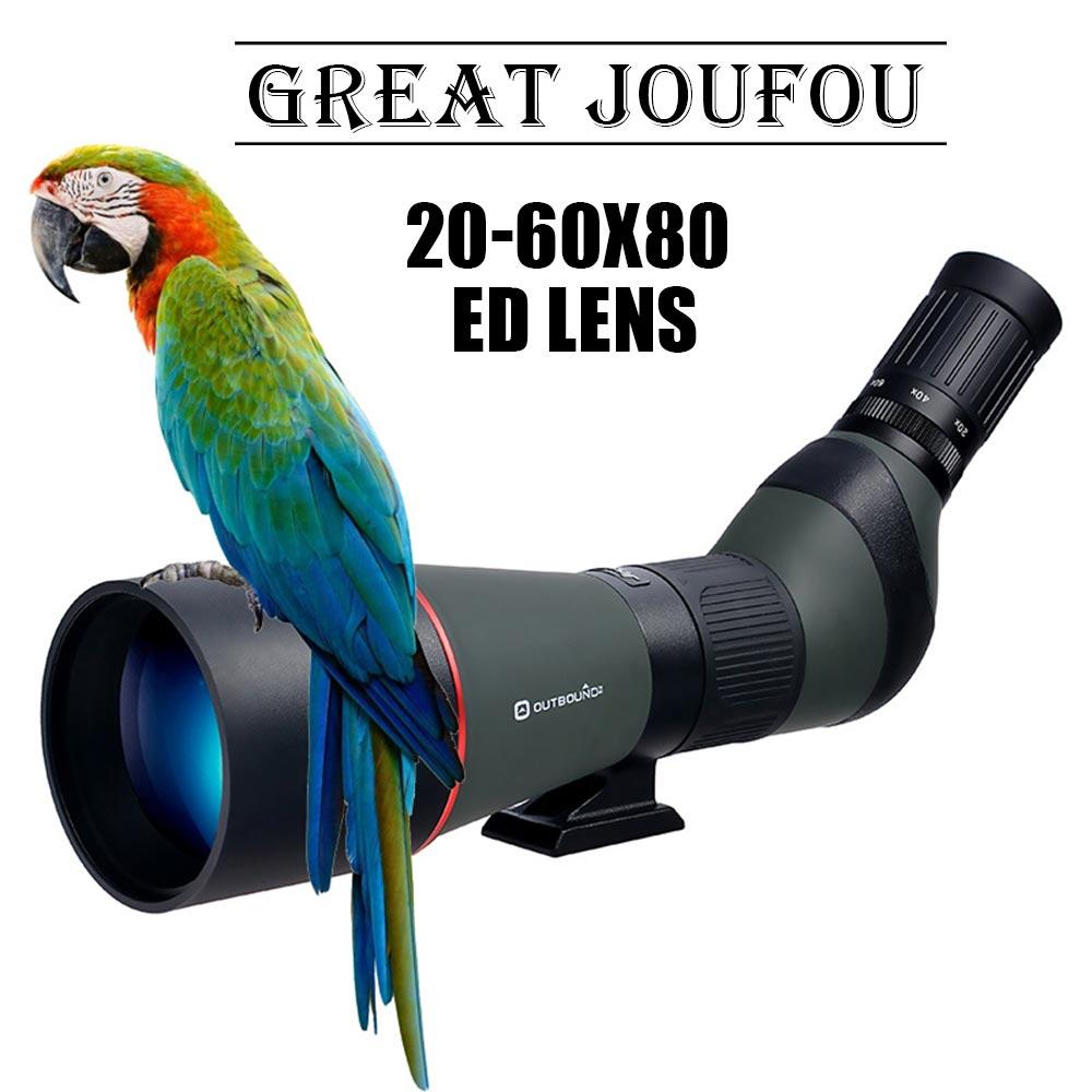 JouFou 20-60X80 HD Spotting Scope Waterproof Zoom Target Shooting Optical Glass High Power with Tripod Birdwatching