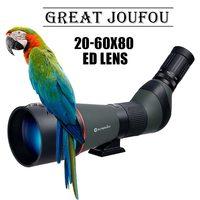 JouFou 20 60X80 HD Spotting Scope Waterproof Zoom Target Shooting Optical Glass High Power with Tripod Birdwatching