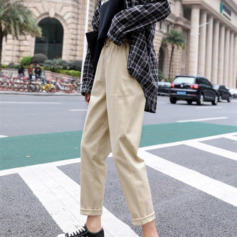 High Waist Harem   Pants   Casual   Pants   Women Vintage Solid Straight Trousers Loose Plus Size   Pants