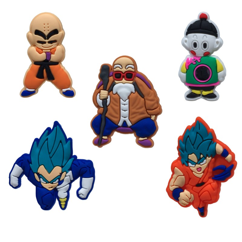 5pcs/lot Dragon Ball Z Cartoon Pvc Brooches Hot Movie Pins Brooches Badges Clothes/hats Accessory Backpack Decor Kid Gift Exquisite Traditional Embroidery Art