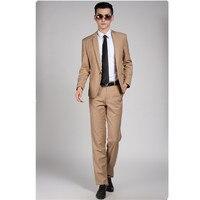 High Quality Men Khaki Suit Wedding Dress Groom Suit Prom Party Suits Set (Jacket + Pants) Mens Business Casual Suit